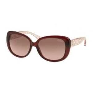 Coach 'Laurin' Burgundy/Pink Crystal Sunglasses